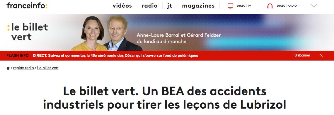 Radio. Franceinfo: – Le Billet Vert – 11/02/2020