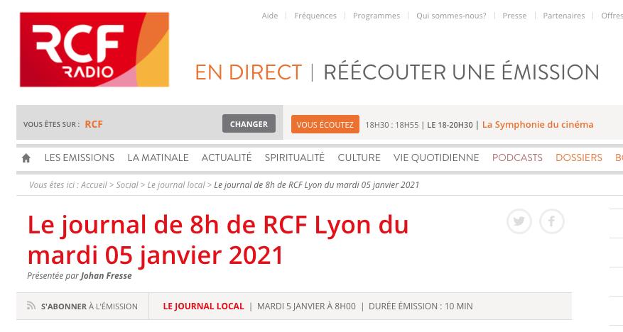 Radio. RCF Lyon – 05/01/2021